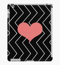 Abstract geometric pattern - heart - zigzag - black and red. iPad Case/Skin