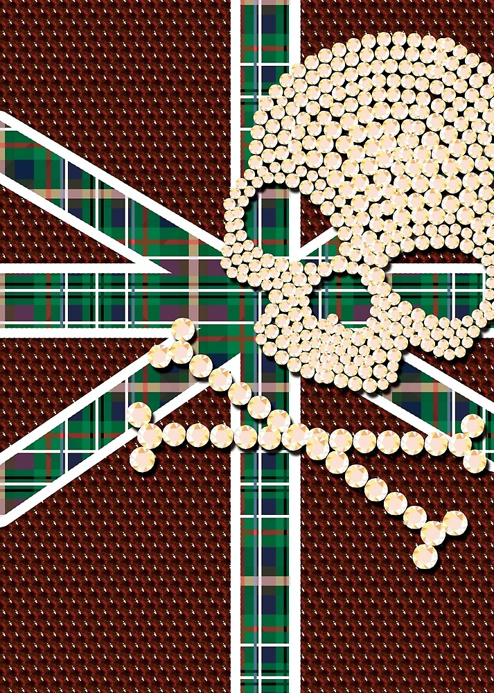 Shiny Diamond Gold Skull Red Green Grid by nguyen-duc