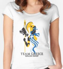 Team Greece Roller Derby Logo (White Background) Women's Fitted Scoop T-Shirt