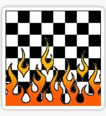 Checkerboard Flames Sticker