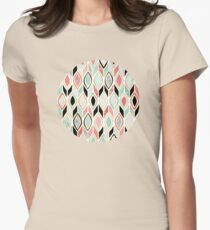 Patchwork Pattern in Coral, Mint, Black & White Womens Fitted T-Shirt