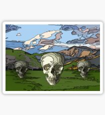 skull scape landcape cartoon Sticker