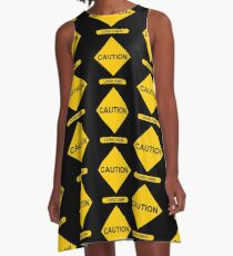 Sign Caution Logic User A-Linien Kleid