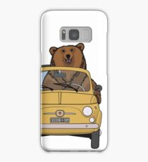 Brown bear driving a yellow retro Fiat 500 Samsung Galaxy Case/Skin