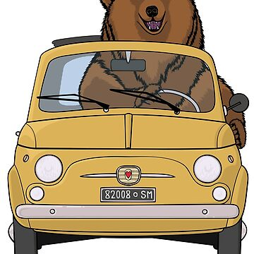 Brown bear driving a yellow retro Fiat 500 by Simut-P