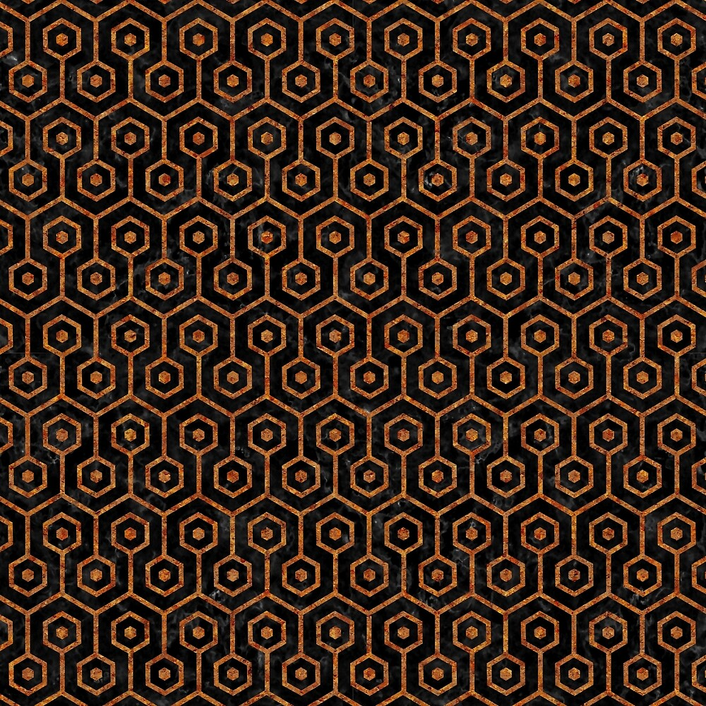 HEXAGON1 BLACK MARBLE & RUSTED METAL (R) by johnhunternance