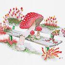 Mushrooms on a Public Bench | Surrealistic Watercolor Painting by Stephanie Kilgast by Stephanie KILGAST