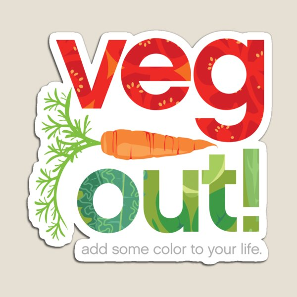 Veg Out! veggie letters with carrot Magnet