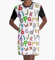 Hand Drawn Letters of the Alphabet Graphic T-Shirt Dress