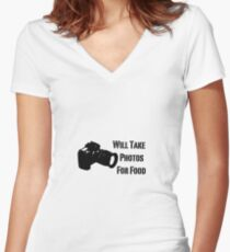 Will Take Photos For Food Women's Fitted V-Neck T-Shirt