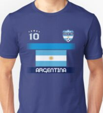 Argentina Soccer Shirt with Flag, Shield and Number 10 Unisex T-Shirt