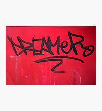 Black graffiti dreamer on red wall Photographic Print
