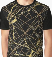 Black Marble Gold Lattice | Geometric Pattern Graphic T-Shirt