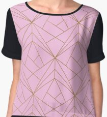 Pink Gold Geometric Pattern  Women's Chiffon Top