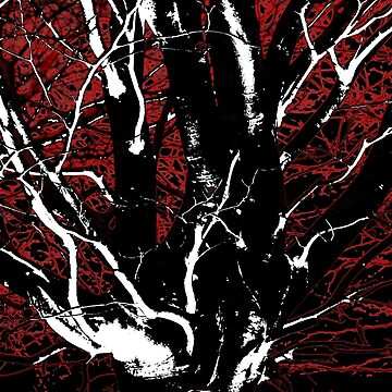 Red Tree Design Print by hesitantnothing