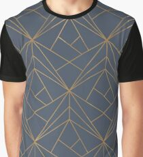 Blue Gold Geometric Pattern Graphic T-Shirt
