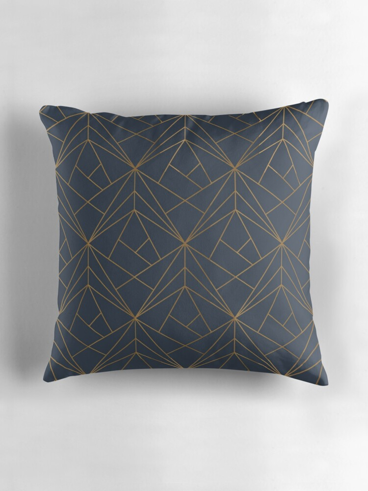 Blue Geometric Throw Pillows :
