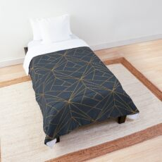 Blue Gold Geometric Pattern Comforter