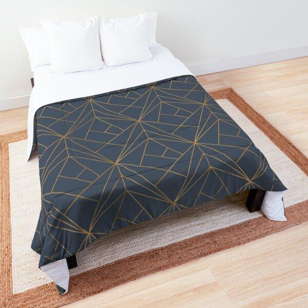 Blue Gold Geometric Pattern Comforter