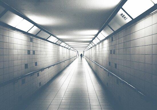 eerie long underground walkway faded by Michael Hofmann