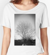 Snow B&W Tree Print Women's Relaxed Fit T-Shirt