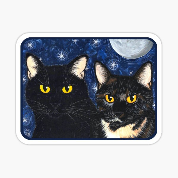 Strangeling's Felines Black Cat Tortie Cat Sticker