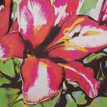 Abstract red Lily flower with leaves pastel art  by pollywolly