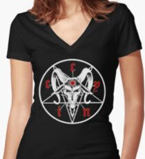 cynic occult BLACK Women's Fitted V-Neck T-Shirt