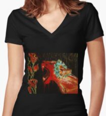 Lioness and Lilies: Acrylic Women's Fitted V-Neck T-Shirt