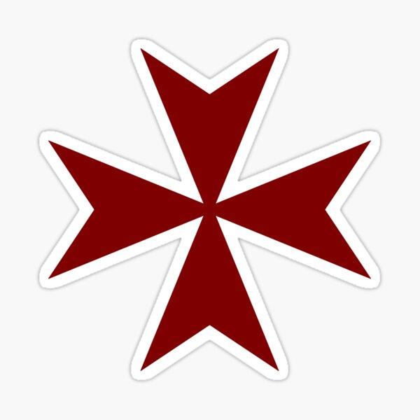 Cruz de Malta Sangre / Rojo oscuro Pegatina