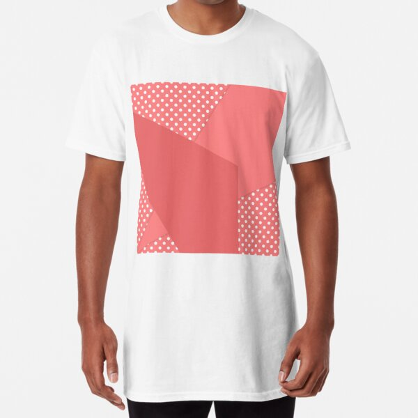 Coral abstract geometric pattern Long T-Shirt