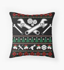 Merry Mechanic Ugly Christmas Sweater Funny Tshirt Throw Pillow