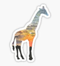 Giraffe Silhouette - Pastel Serengeti Sunset Sticker