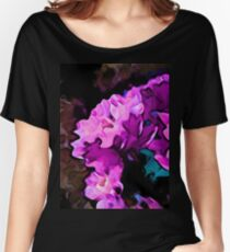 Still Life with a Pink and Lavender Flower on a Brown Floor Women's Relaxed Fit T-Shirt