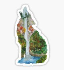 Wolf Silhouette - Multnomah Falls Oregon Sticker