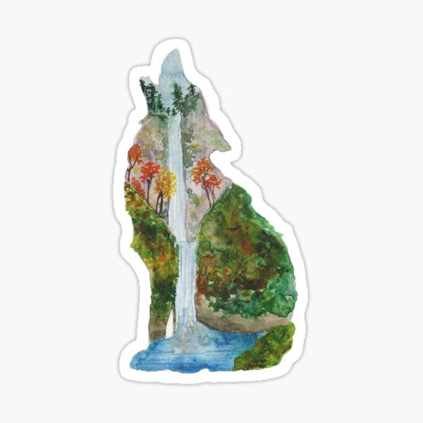 Waterfall Wolf Silhouette - Multnomah Falls Oregon Sticker