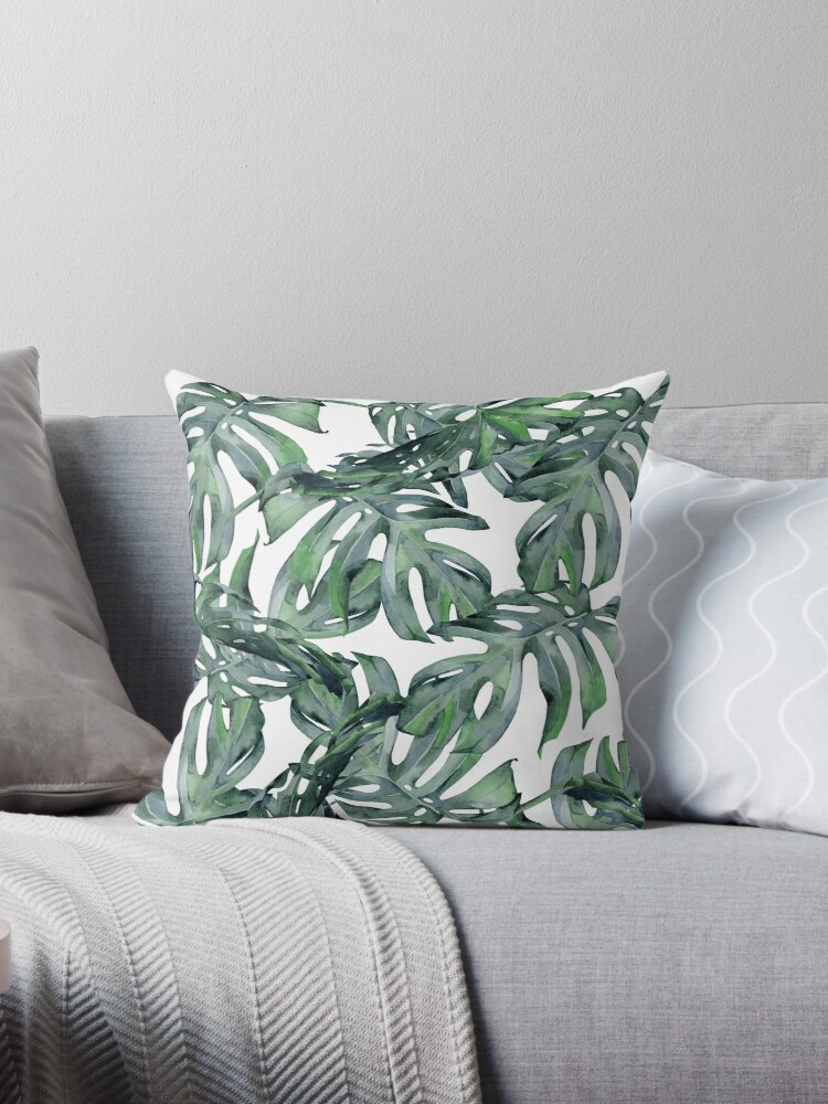 Classic Green Tropical Monstera Leaf on White by SimpleLuxe