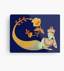 Flower Devi Green Goddess Metal Print