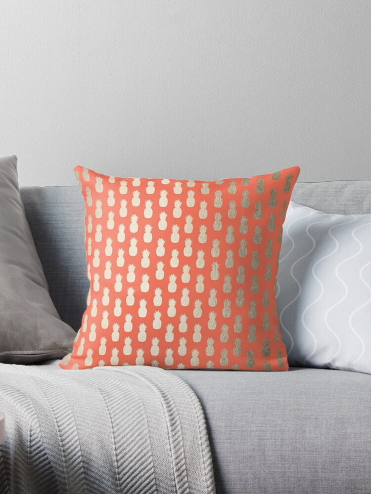 Golden Tropical Pineapple Shimmer on Deep Coral Pattern by SimpleLuxe