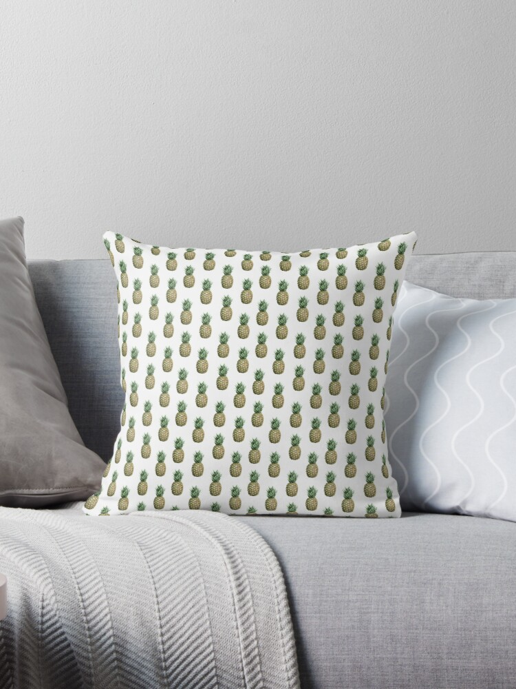 Tropical Pineapple Summer on White Pattern by SimpleLuxe