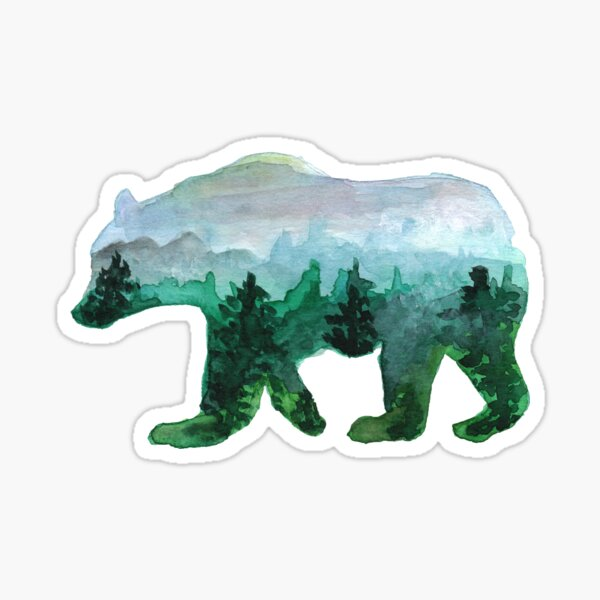Misty Mountains Bear Silhouette Sticker