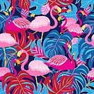 Beautiful bright tropical pattern of pink flamingos  by Tanor