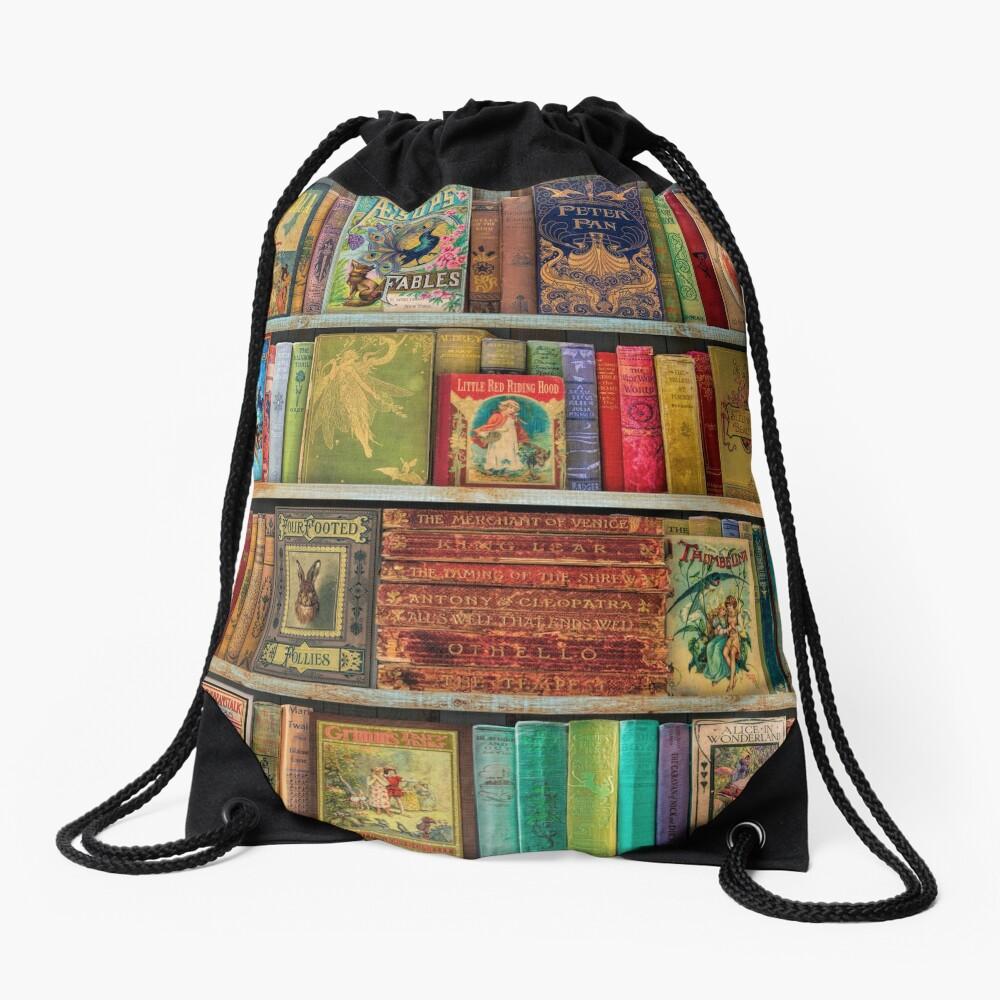 A Daydreamer's Book Shelf Drawstring Bag