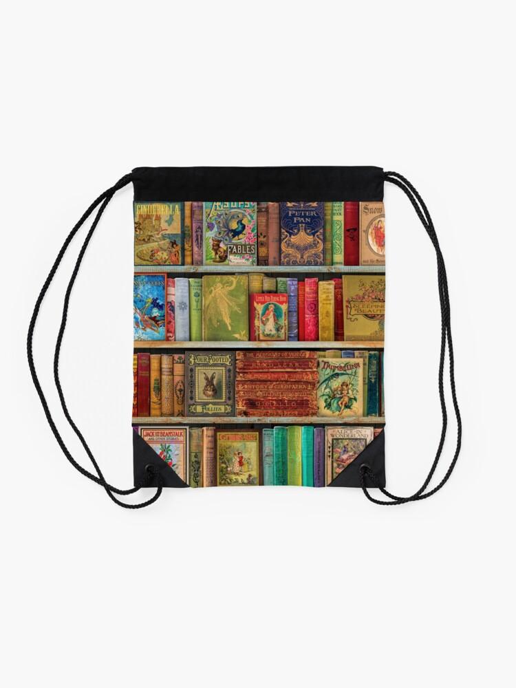 Alternate view of A Daydreamer's Book Shelf Drawstring Bag