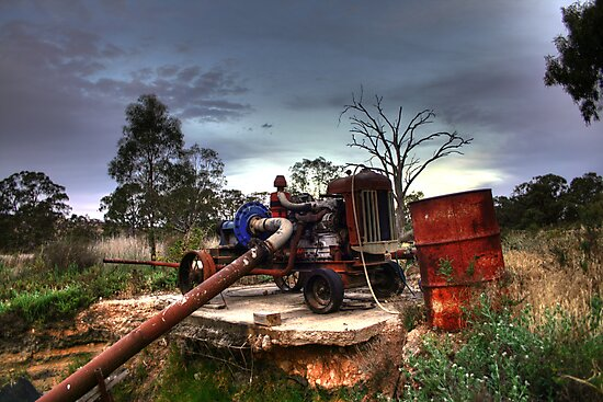 Old Tractor Pump by Dave  Hartley