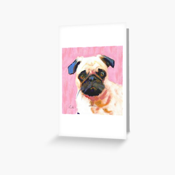 Pink Pug Greeting Card