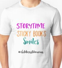 Storytime Sticky Books Smiles - Childrens Librarian T-Shirt