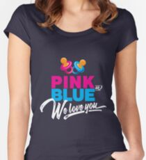 'Pink or Blue We Love You' Cute Baby Shower  Women's Fitted Scoop T-Shirt