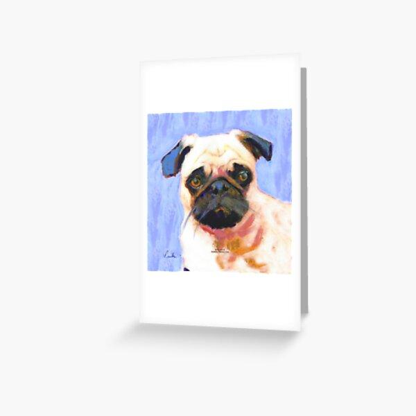 Blue Pinky Pug Greeting Card