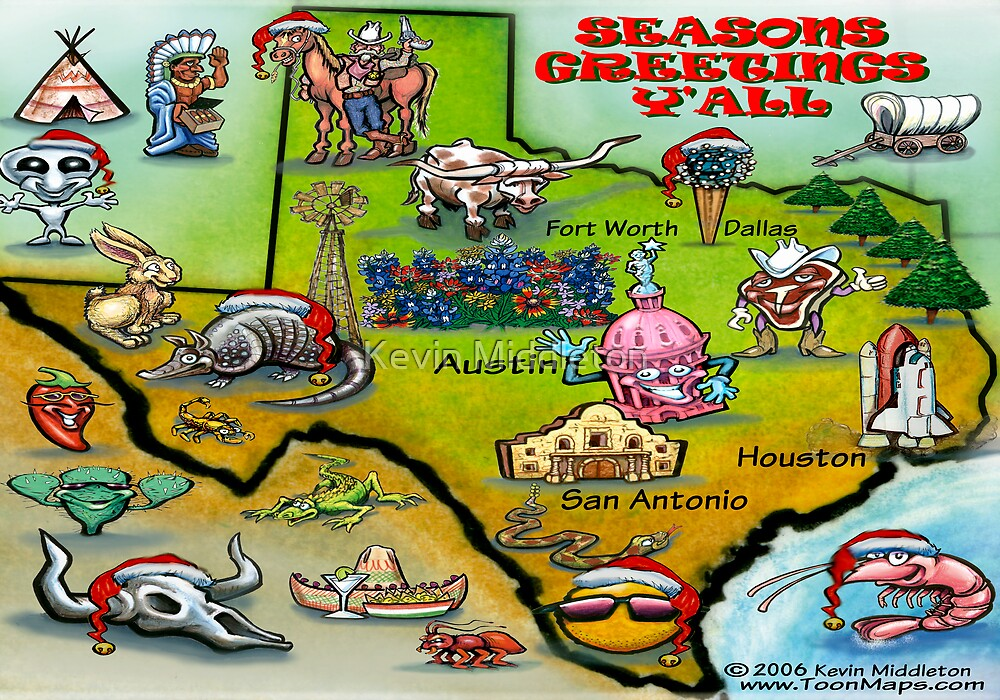 Texas Christmas Map by Kevin Middleton